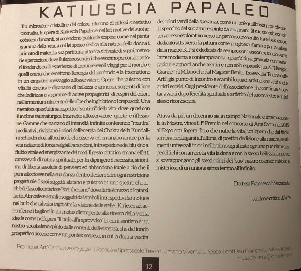 Dott.ssa Francesca Mezzatesta, storico e critico d'arte - Recensione su Katiuscia Papaleo