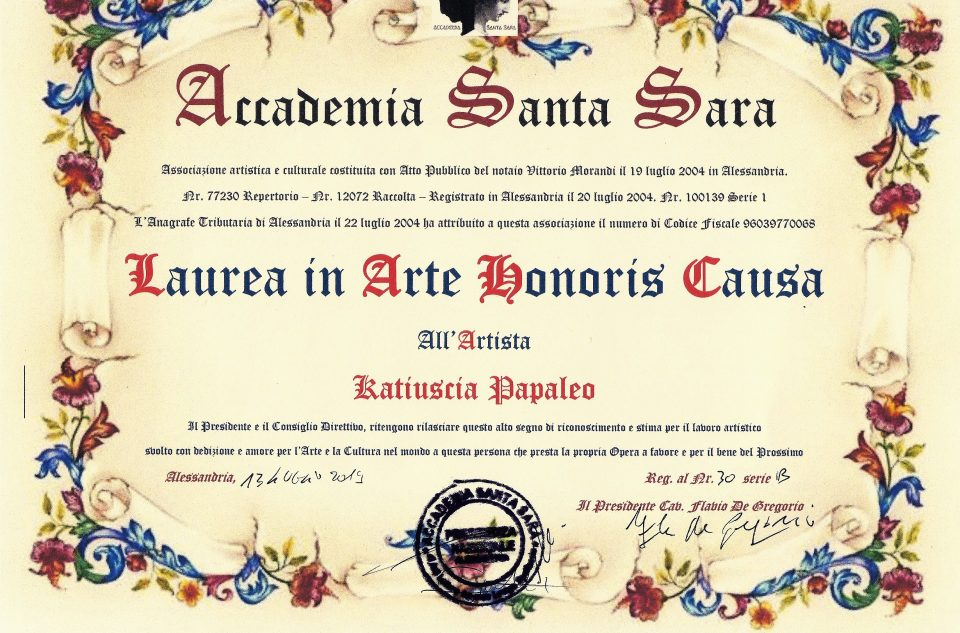 Santa Sara - Laurea in Arte Honoris Causa 2019